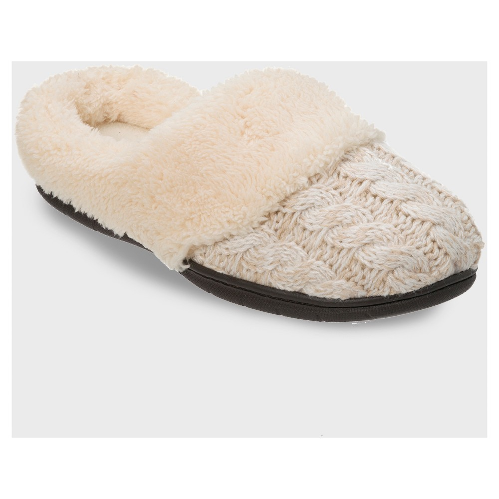 Womens dluxe by dearfoams Carol Cable Knit Scuff Slippers - Oatmeal Heather M (7-8)