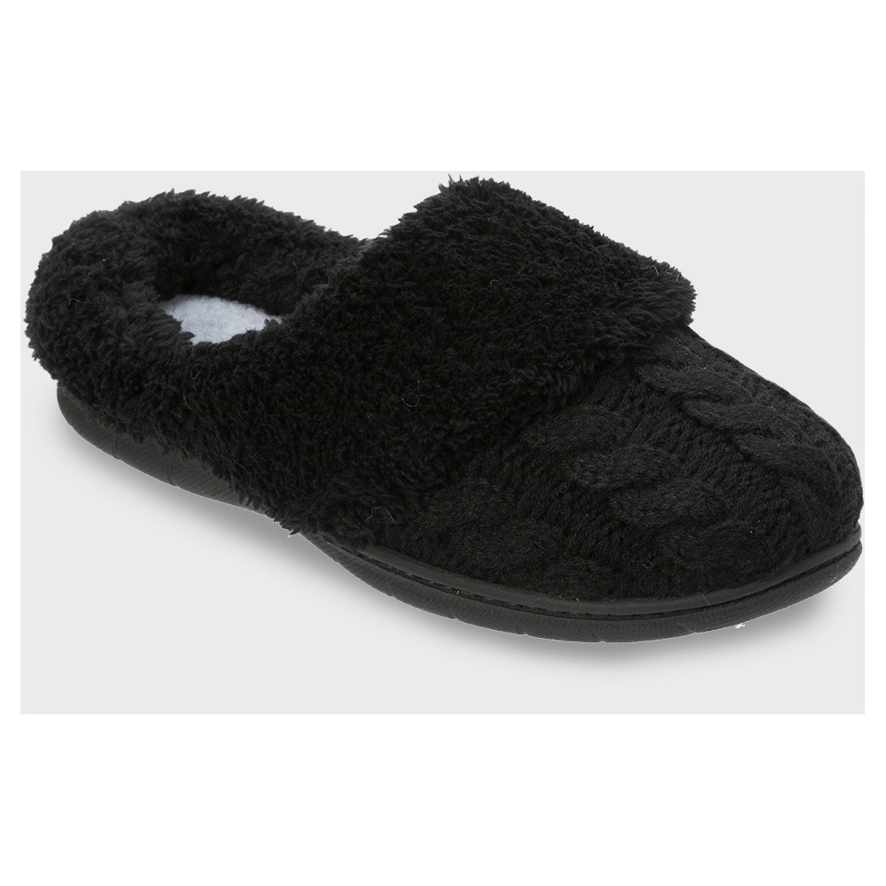 Womens dluxe by dearfoams Carol Cable Knit Scuff Slippers - Black XL (11)