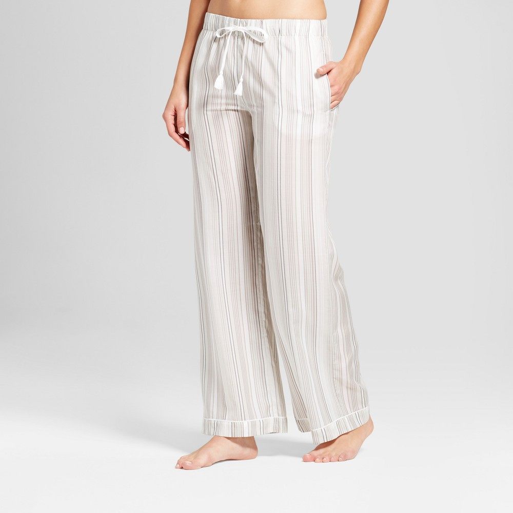 Womens Tencel Striped Pajama Pants Gray L