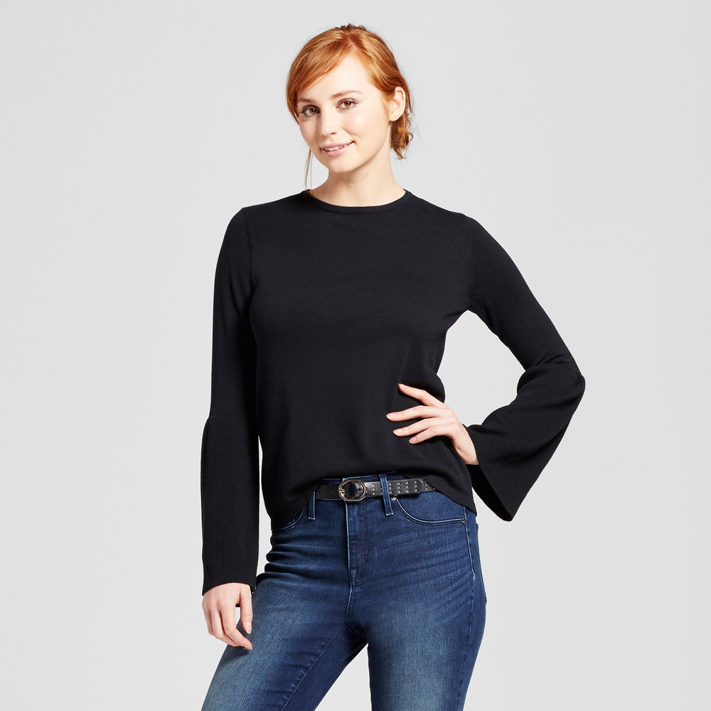 Women's Bell Sleeve Pullover Sweater - Mossimo Black XL