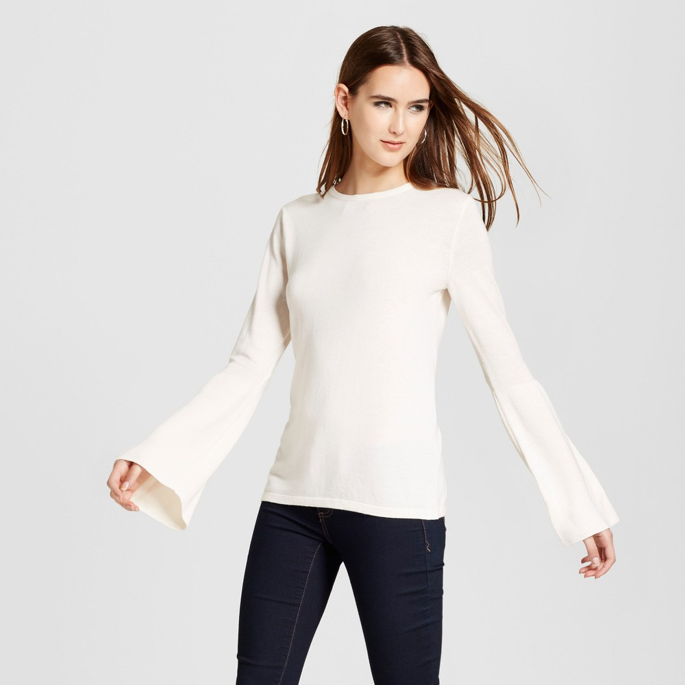 Womens Bell Sleeve Pullover Sweater- Mossimo White XS