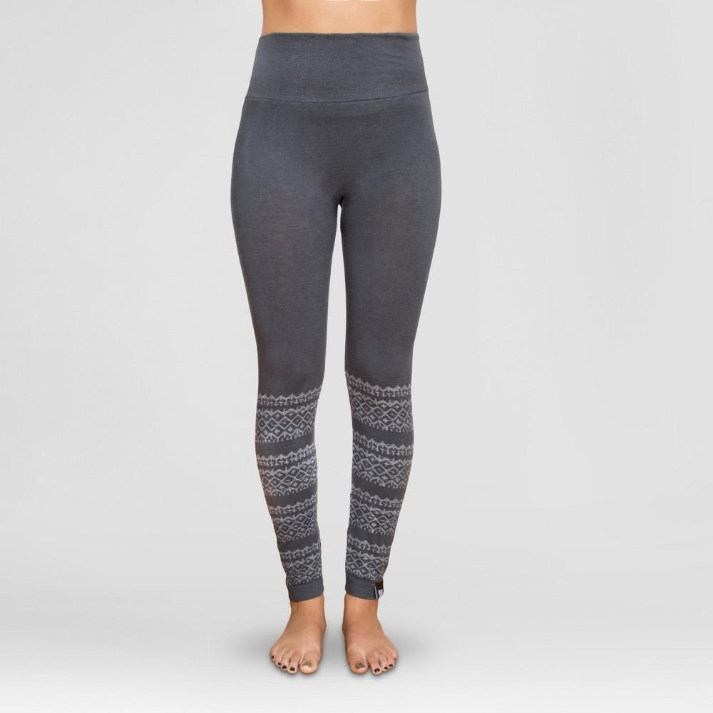 Muk Luks Women's Pattern Leggings - Charcoal Fairisle XL/1X, Size: XL/Xxl, Gray