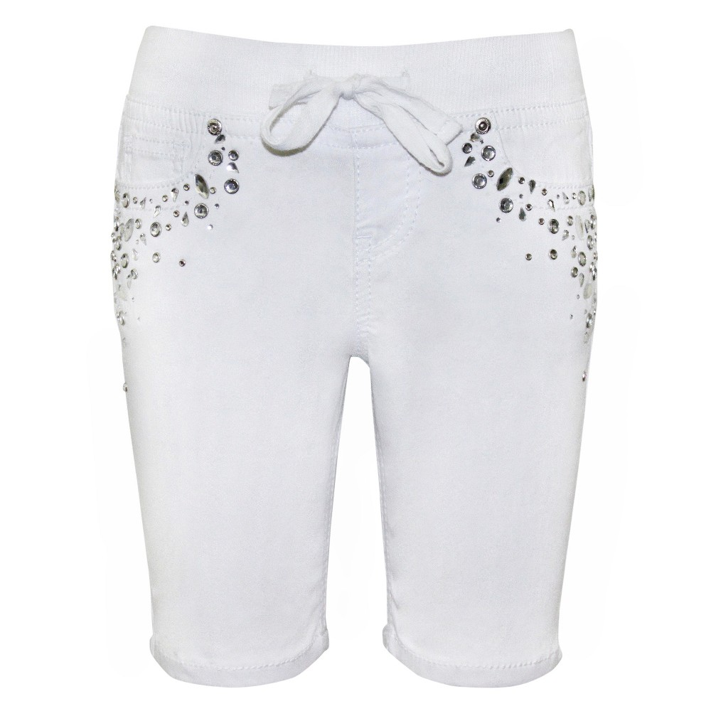 Plus Size Girls Seven7 Elastic Waist Bling Bermuda Shorts - White 14 Plus