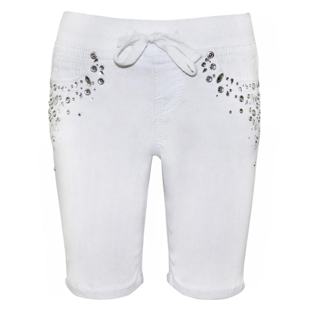 Plus Size Girls Seven7 Elastic Waist Bling Bermuda Shorts - White 16 Plus