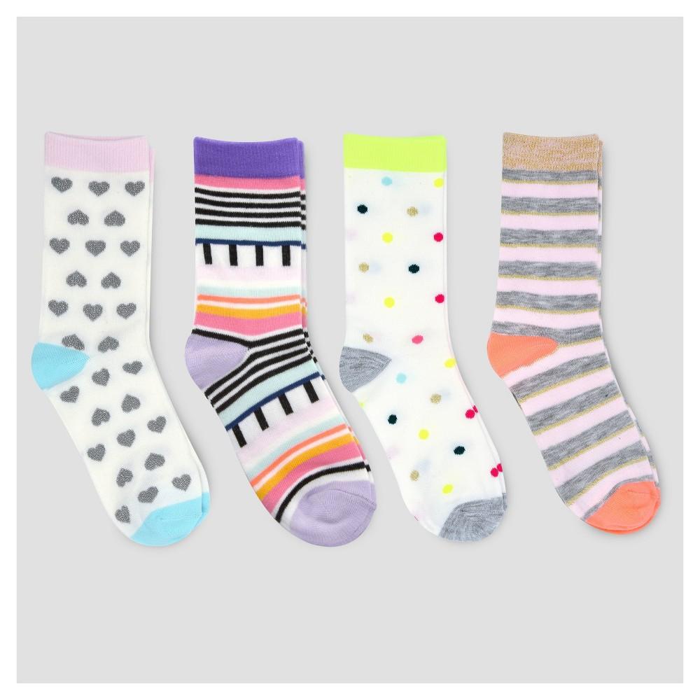 Girls Crew Socks - Cat & Jack 4pk - S, Multicolored