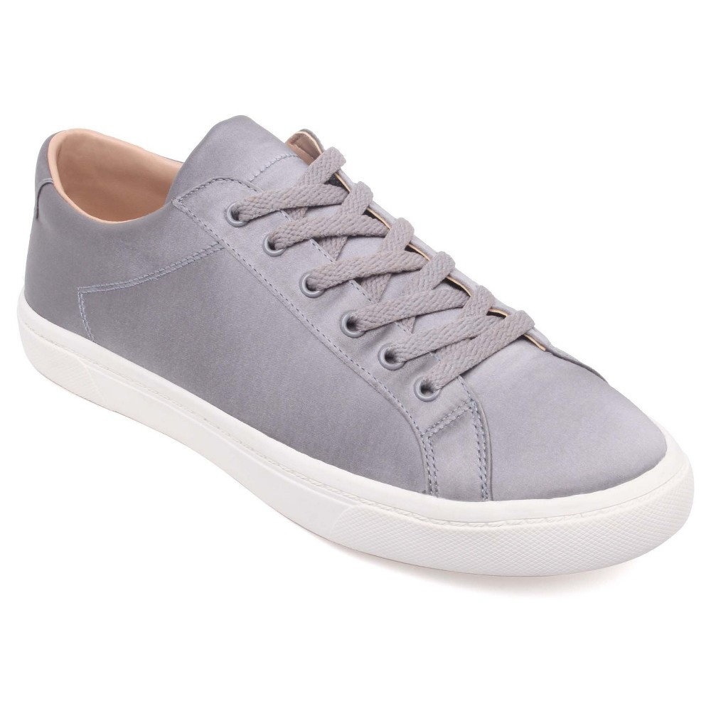 Womens Hazel Satin Lace Up Sneakers Who What Wear Gray 6