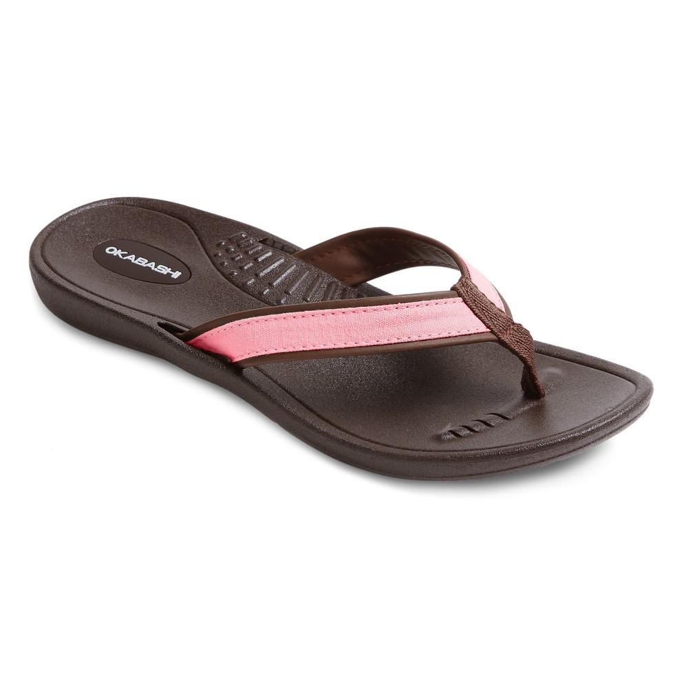 Womens Okabashi Indigo Flip Flop Sandals - Coral/Brown (Pink/Brown) L (9.5-10.5)