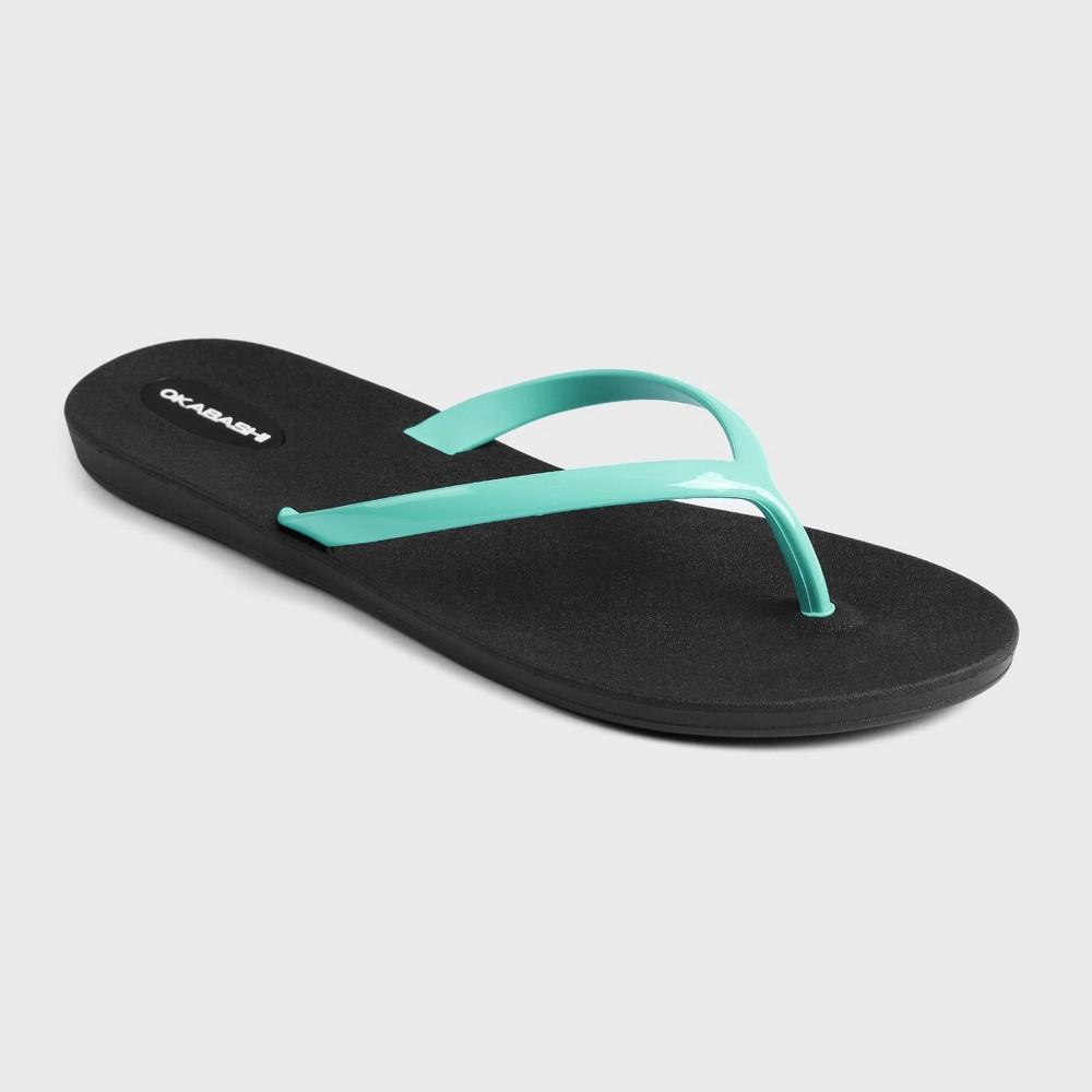 Womens Okabashi Kail Flip Flop Sandals - Black/Turquoise 6