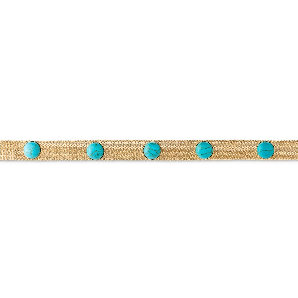 Natasha Accessories Gold Mesh Choker with Stones - 3 - Turquoise/Gold, Womens, Bright Gold