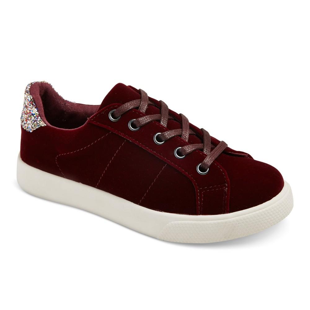 Girls' Shaelyn Velvet Sneakers Cat & Jack - Burgundy 3, Red