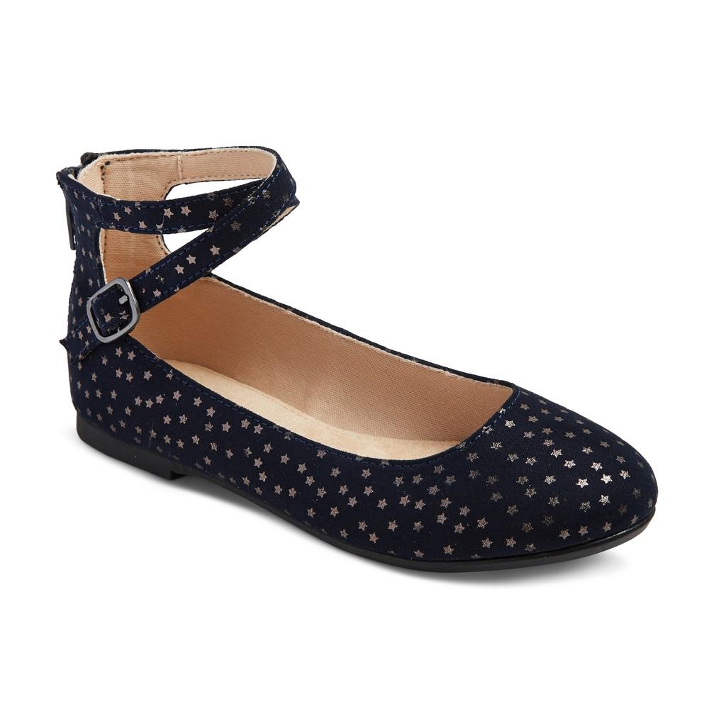 Girls Leslie Ankle Wrap Ballet Flats Cat & Jack - Navy (Blue) 4