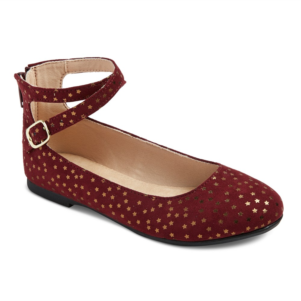Girls Leslie Ankle Wrap Ballet Flats Cat & Jack - Burgundy (Red) 3