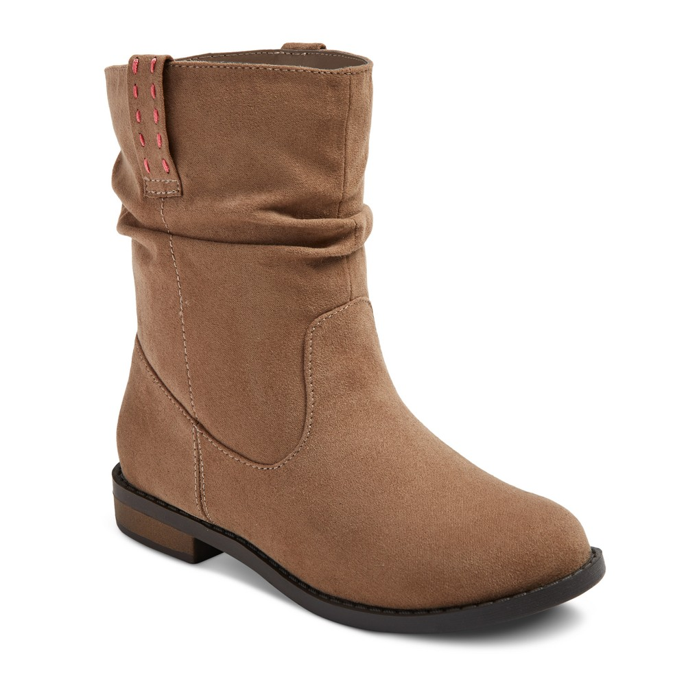 Girls Sahara Scrunch Ankle Fashion Boots Cat & Jack - Cognac (Red) 2