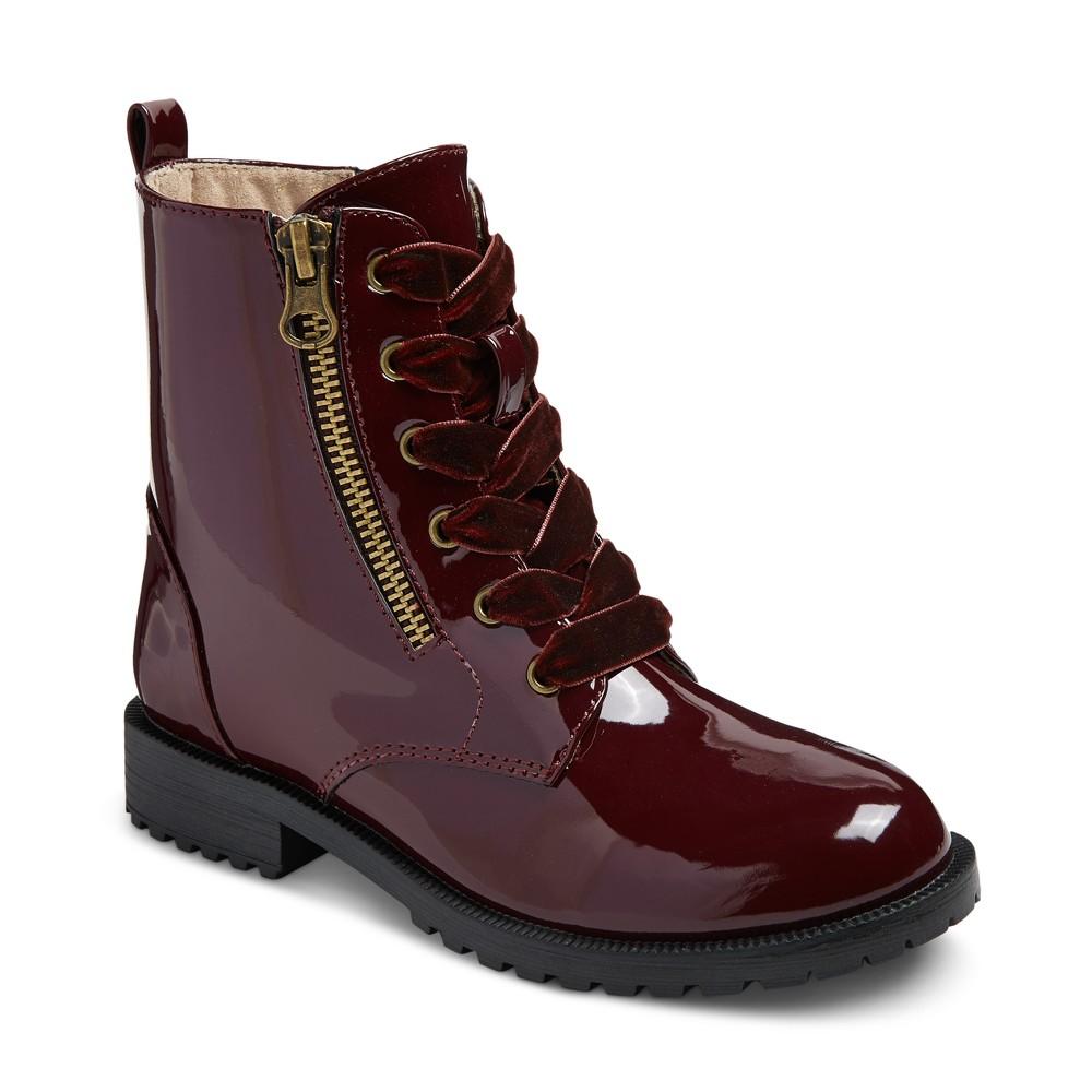 Girls Sheri Patent Combat Boots Cat & Jack - Burgundy 2, Red