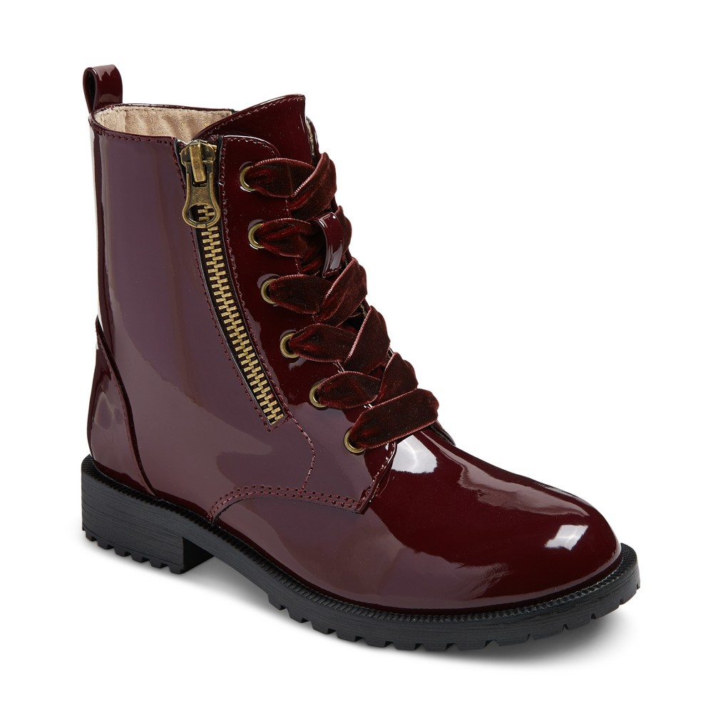 Girls Sheri Patent Combat Boots Cat & Jack - Burgundy 5, Red