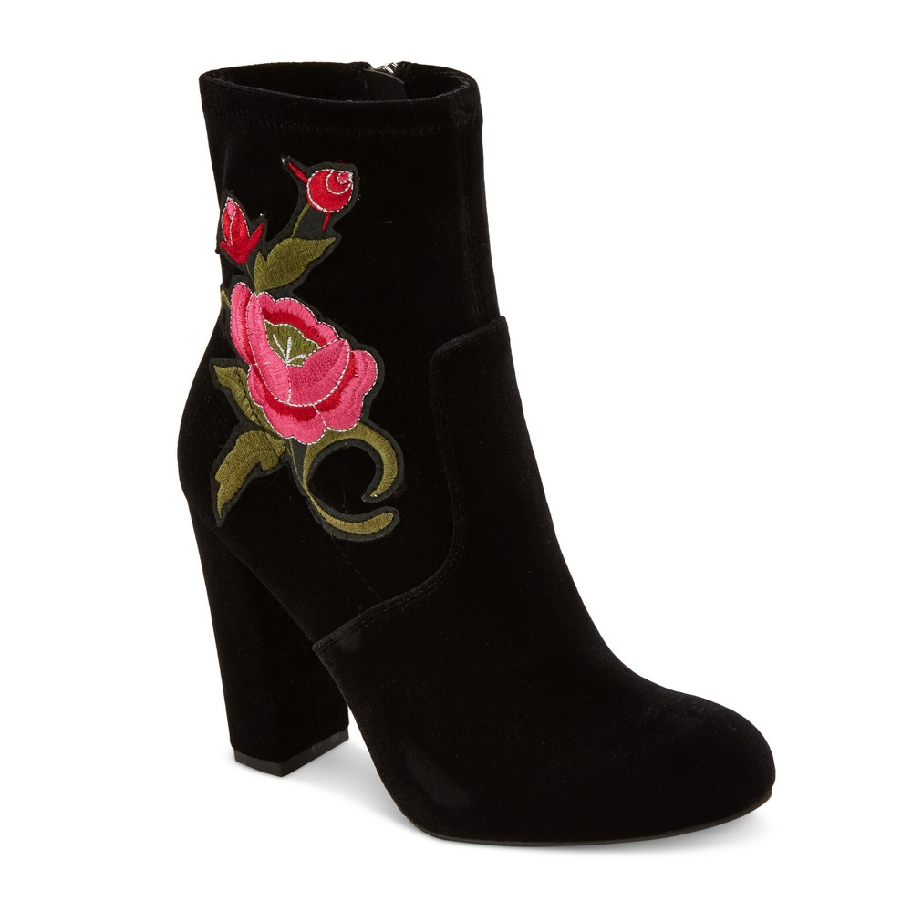 Womens Kaylyn Embroidered Velvet Booties Mossimo Supply Co. - Black 9.5