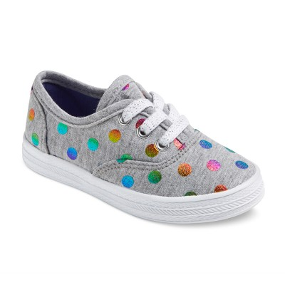 Toddler Girls' Mel Low Top Polka Dot Sneakers 5 - Cat & Jack™ - Gray