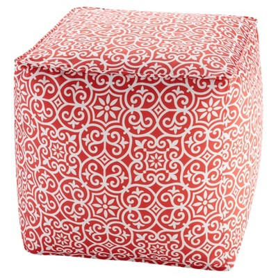 Delmar Printed Fret 3M Scotchgard Outdoor Pouf - Red