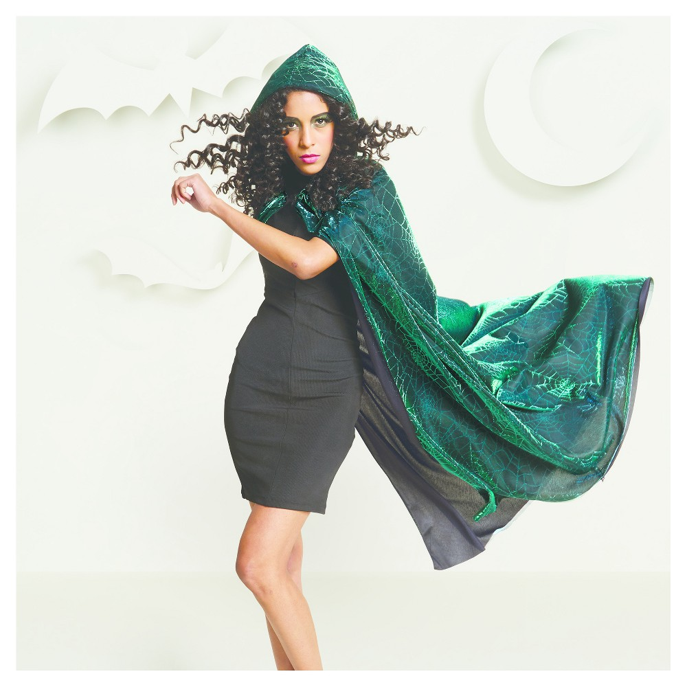 Womens Spider Web Deluxe Cape with Hood - Hyde and Eek! Boutique, Green