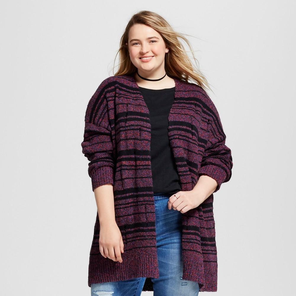 Womens Plus Size Grunge Cardigan - Mossimo Supply Co. 2X, Purple/Black