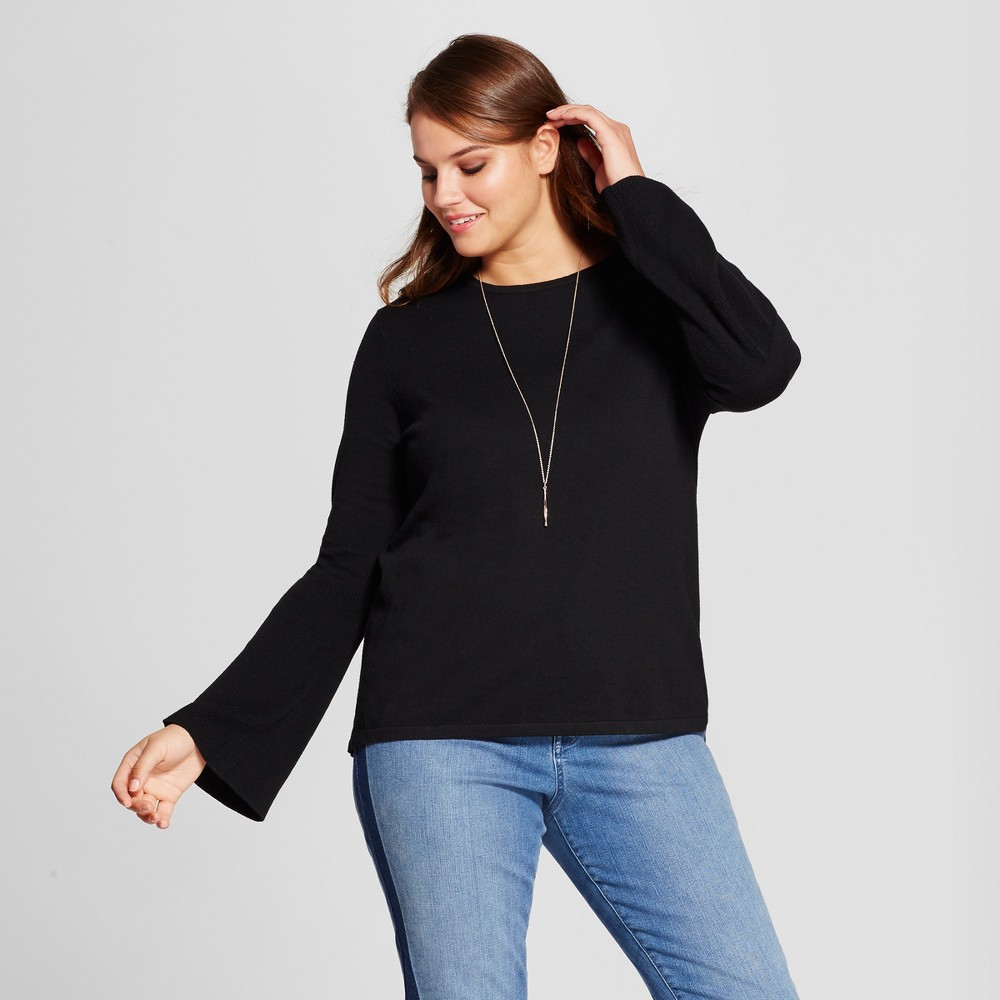 Womens Plus Size Bell Sleeve Pullover - Mossimo Black 2X