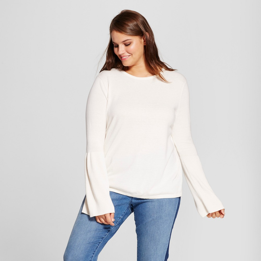 Womens Plus Size Bell Sleeve Pullover - Mossimo Cream (Ivory) X