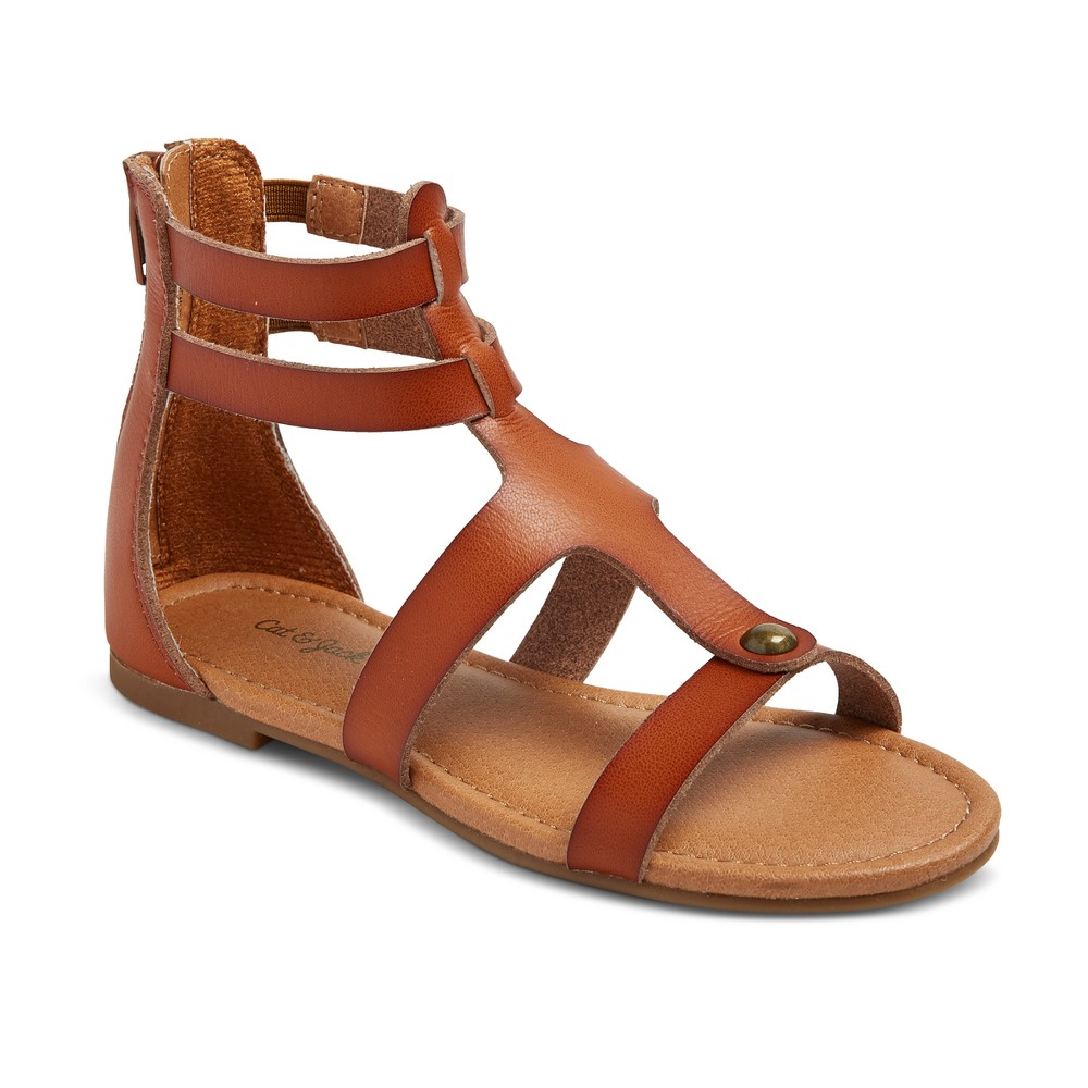 Girls Fawn Thong Sandals Cat & Jack - Cognac 5, Brown