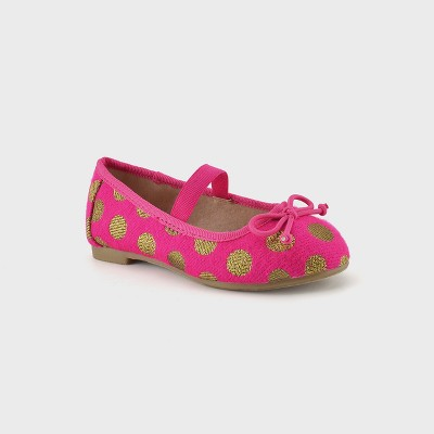 Toddler Girls' Cacey Bow Ballet Flats 8 - Cat & Jack™ Pink/Gold