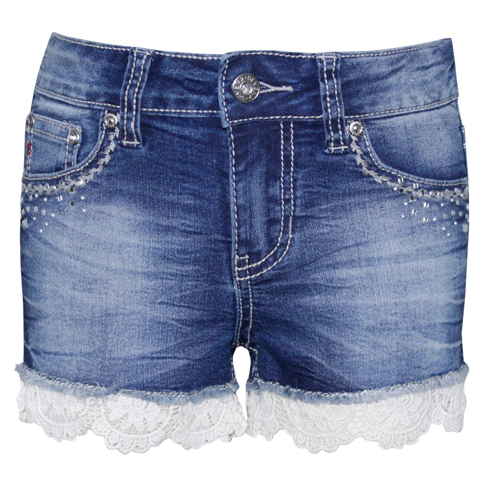 Plus Size Girls' Seven7 Elastic Waist Bling Bermuda Shorts with Crochet – Medium Vintage Wash 12 Plus, Women's, Blue