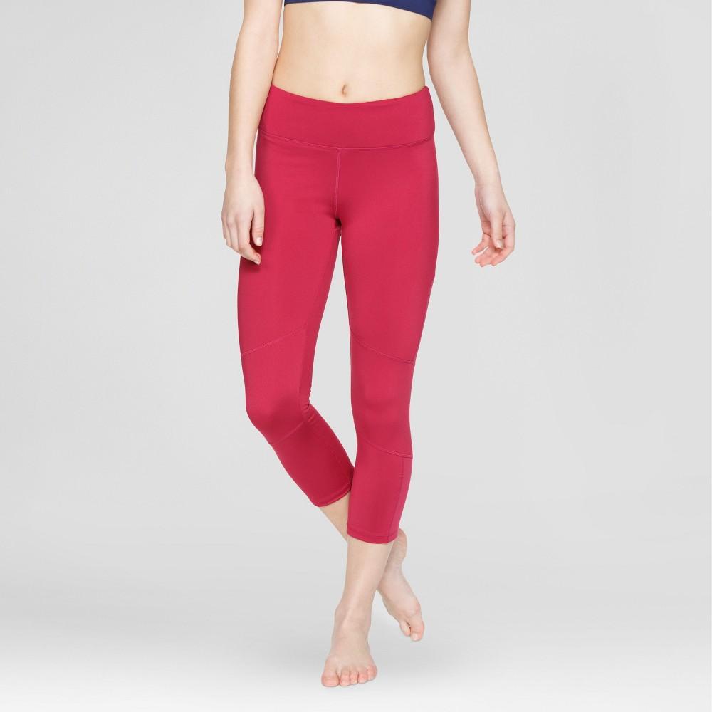 Velvet Rose Womens Mesh Capri Leggings - Cherry Red S