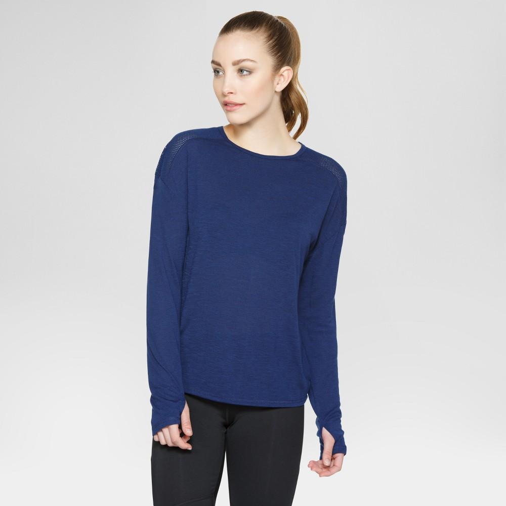 Velvet Rose Womens Long Sleeve Open Back T-Shirt - Blue M