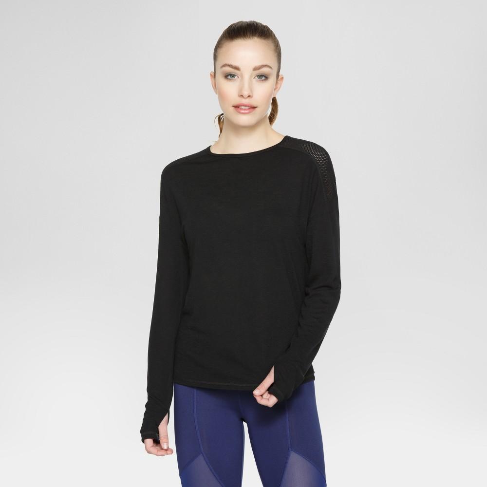 Velvet Rose Womens Long Sleeve Open Back T-Shirt - Black XS
