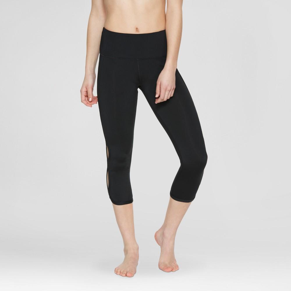 Velvet Rose Womens Cut Out Capri Leggings - Black XS