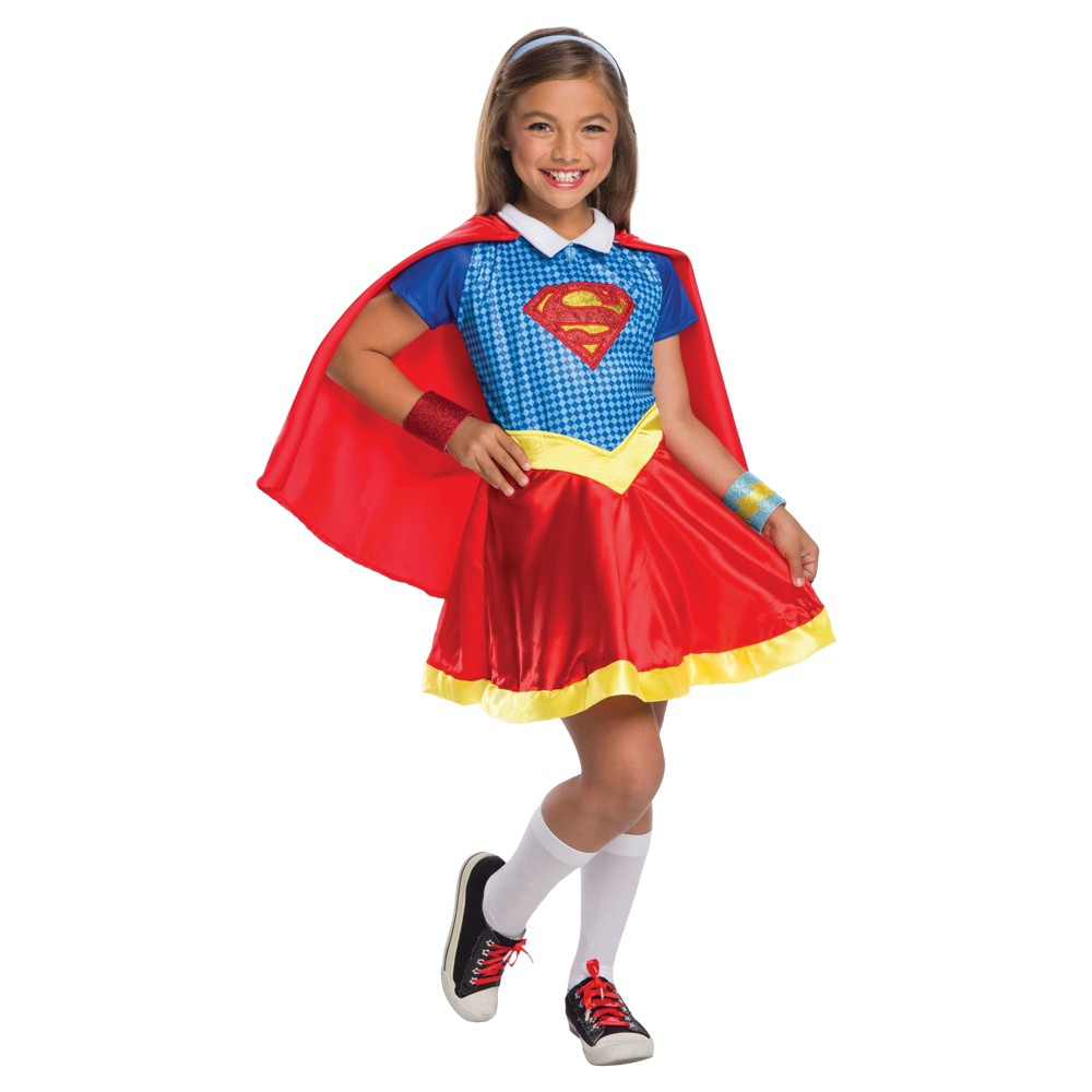 Girls DC Superhero Supergirl Deluxe Costume - L (10-12), Multicolored