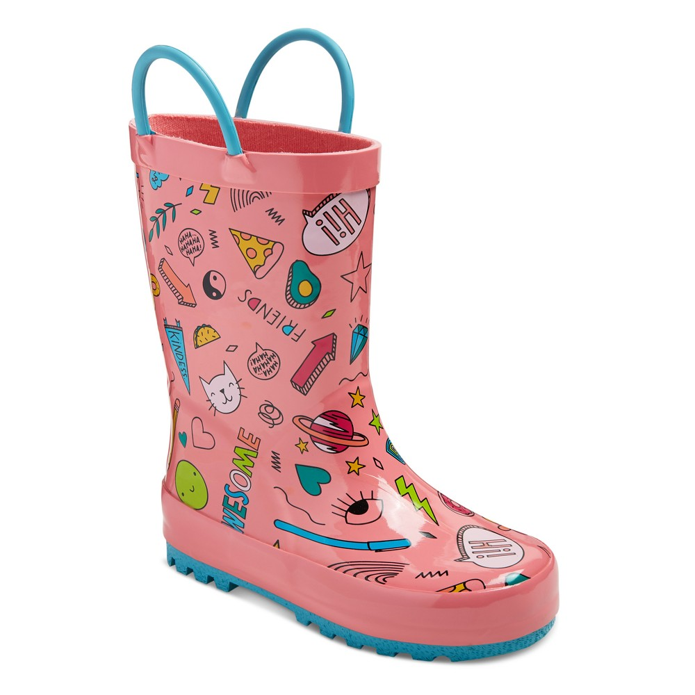 Toddler Girls' Brynn Printed Rain Boots Cat & Jack - Coral L, Size: L (9-10), Pink