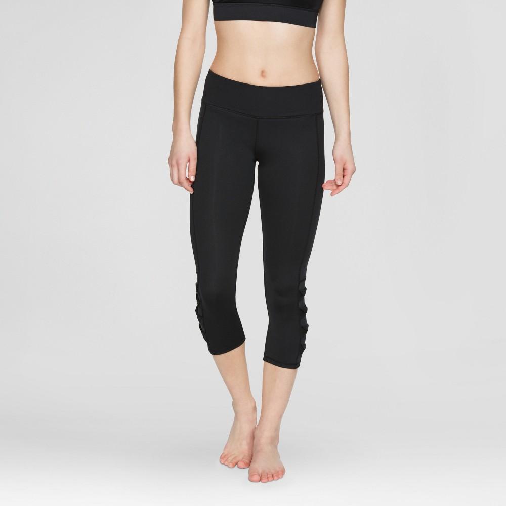 Velvet Rose Womens Mesh Tie Capri Leggings - Black S