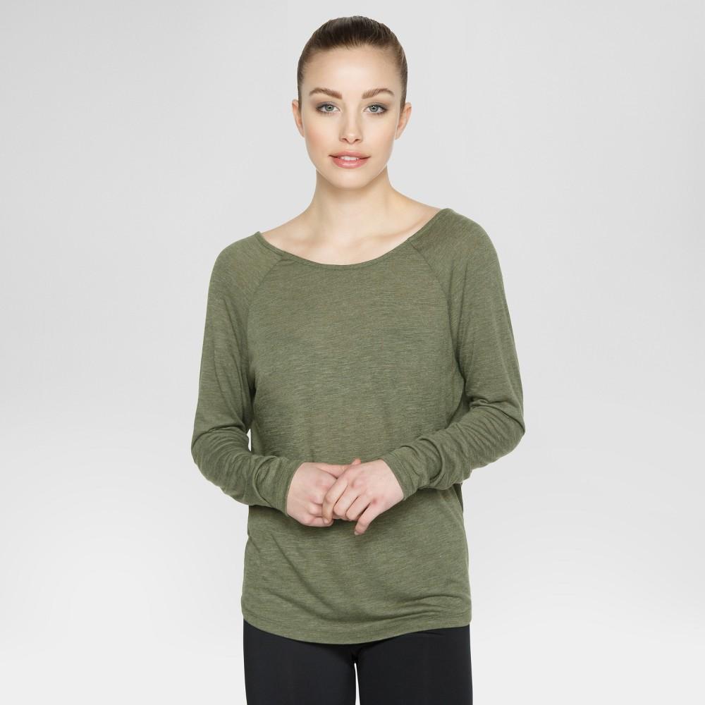 Velvet Rose Womens Open Back Long Sleeve T-Shirt - Army Green XL