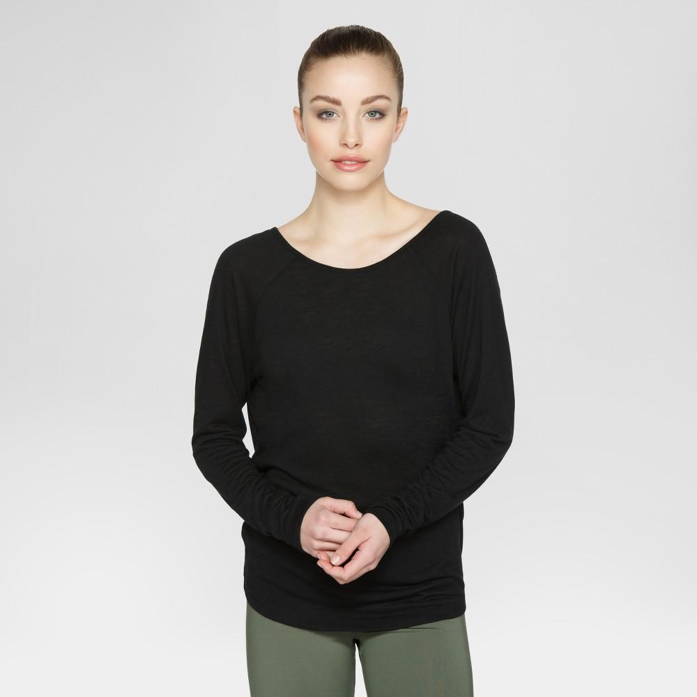 Velvet Rose Women's Open Back Long Sleeve T-Shirt - Black XS