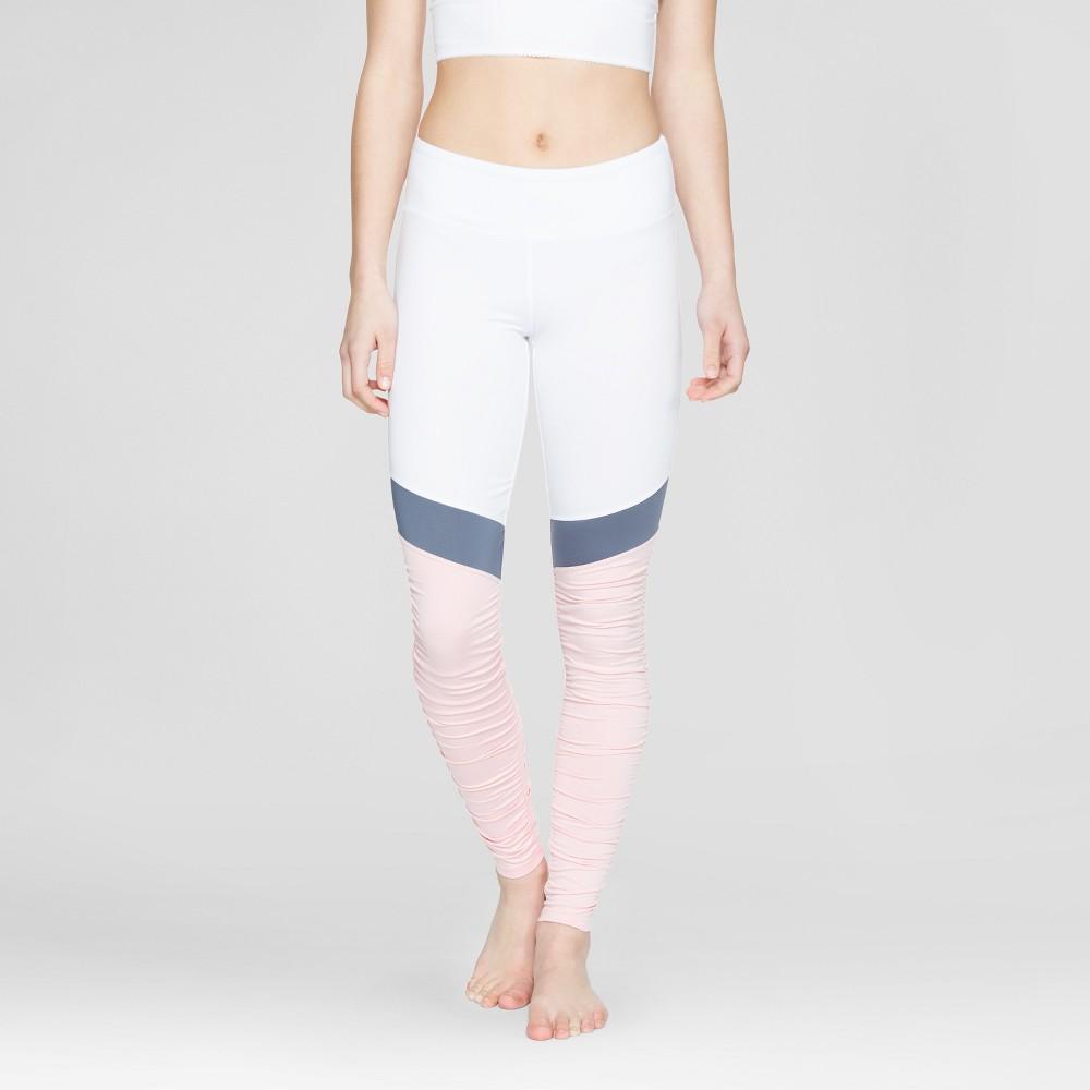 Velvet Rose Womens Rouched Mesh Leggings - Pearl (White) XL