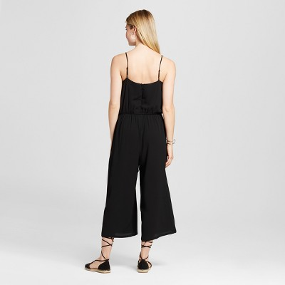Women's Solid Woven Jumpsuit with Ruffle Front - Black M - Notations