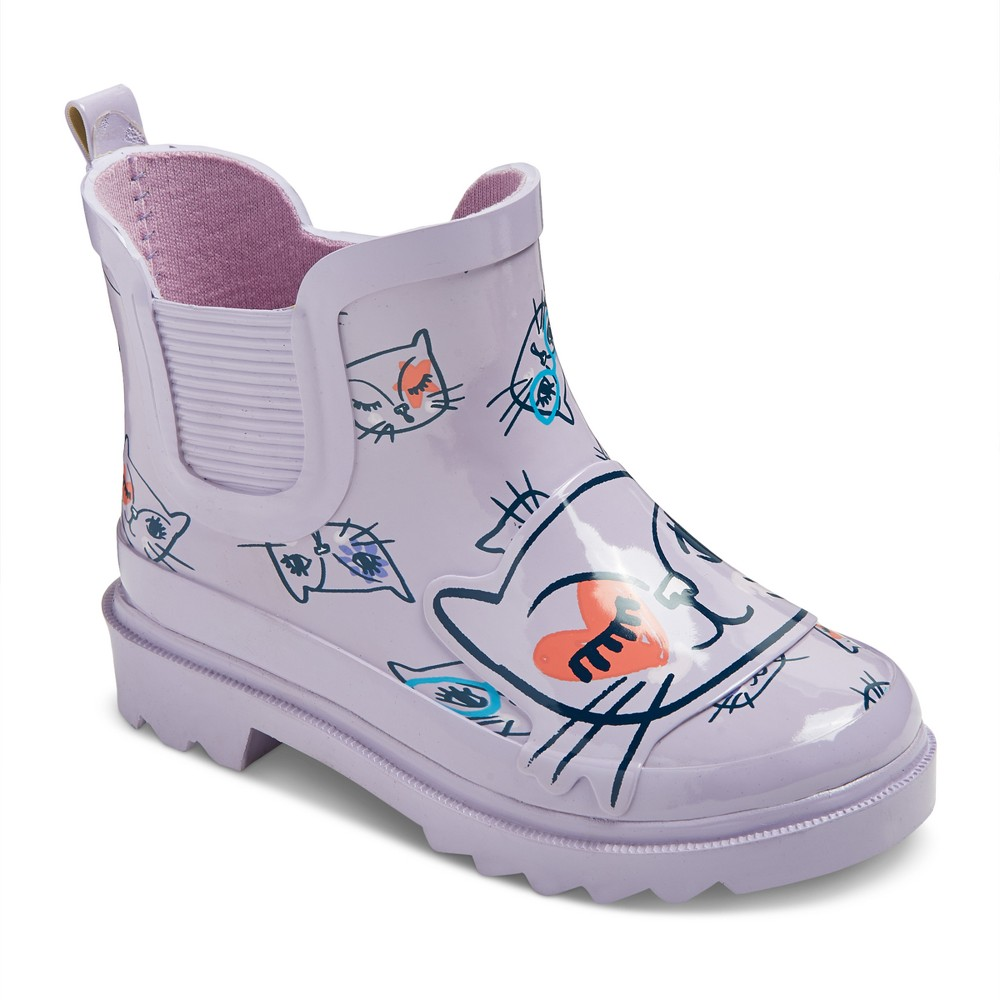 Toddler Girls Bebe Kitty Printed Rain Boots Cat & Jack - Purple L, Size: L (9-10)