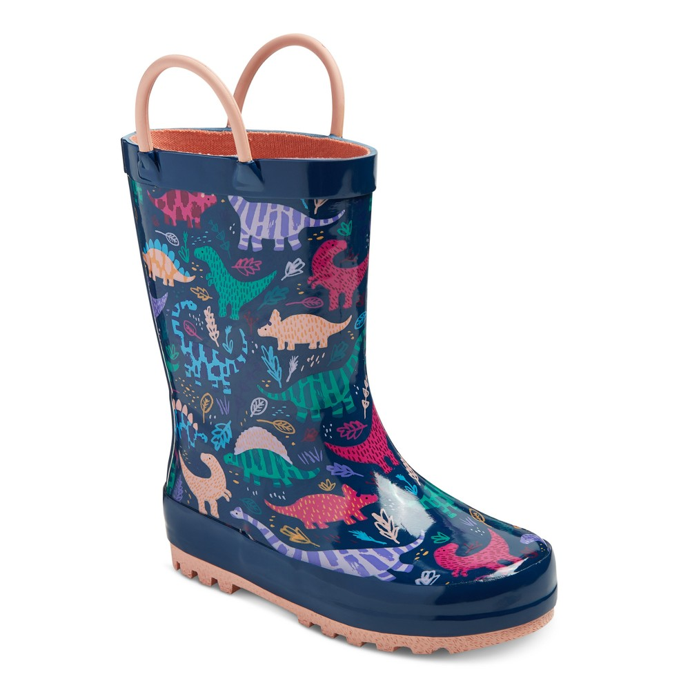 Toddler Girls Ramona Dinosaur Printed Rain Boots Cat & Jack - Navy L, Size: L (9-10), Blue