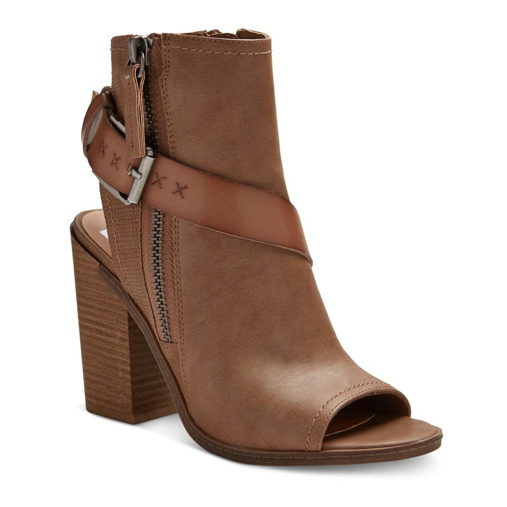Womens dv Teisha Buckle Peep Toe Booties - Taupe Brown 6