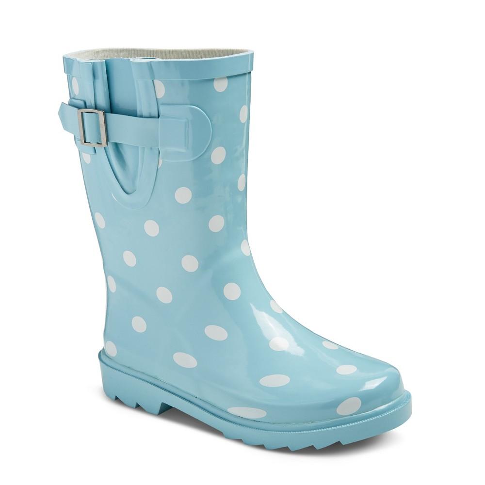 Girls Guzzie Polka Dot Rain Boots Cat & Jack - Mint (Green) 13