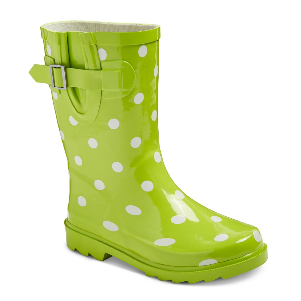 Girls Guzzie Polka Dot Rain Boots - Cat & Jack Lime (Green) 5