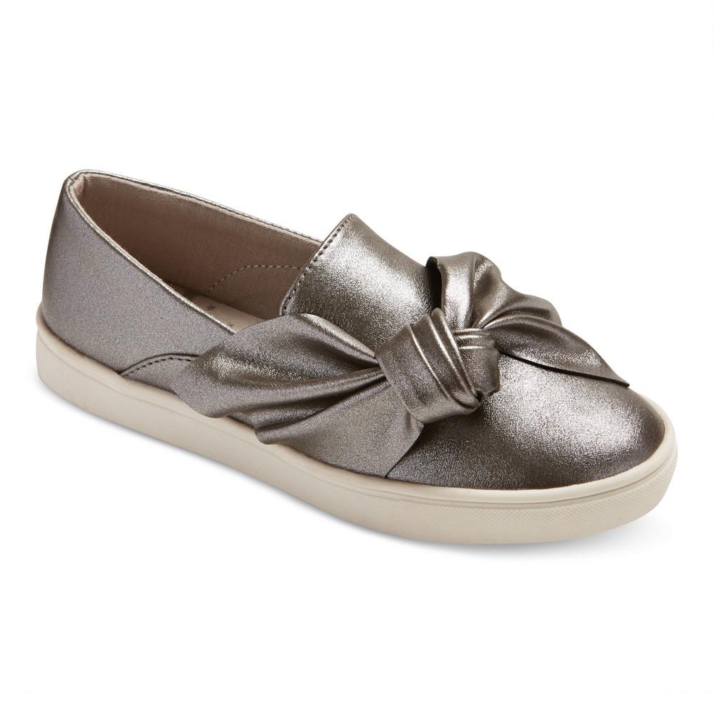 Girls Shea Metallic Twin Gore Sneakers Cat & Jack - Pewter 4, Silver