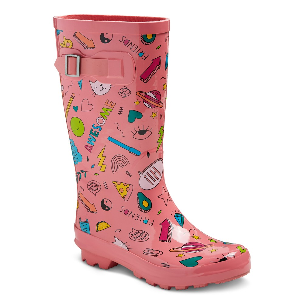 Girls Gilmore Printed Rain Boots Cat & Jack - 3, Multicolored