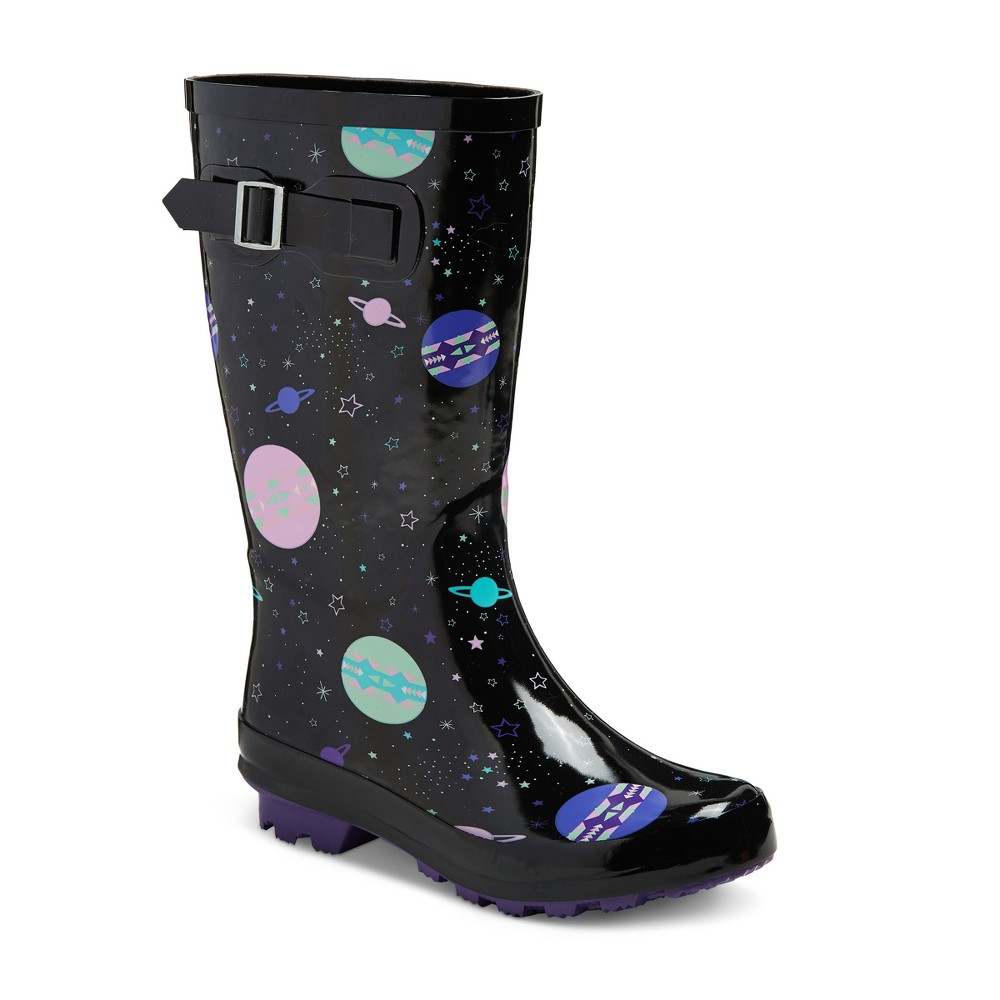 Girls Gina Printed Rain Boots Cat & Jack Black 1, Multicolored