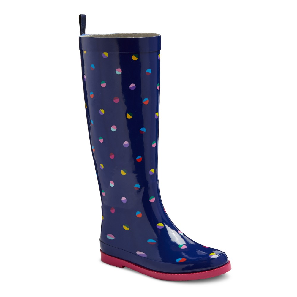 Girls Ginger Dot Rain Boots Cat & Jack Navy 4, Multicolored