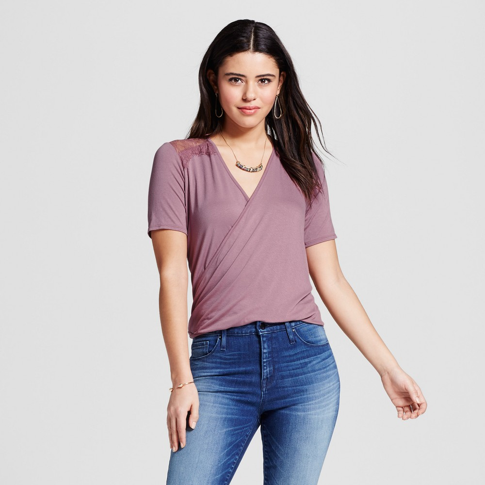 Women's Lace Shoulder Short Sleeve Surplus Top Mauve (Pink) L – Soul Cake (Juniors')
